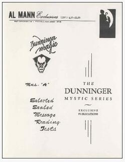 The Dunninger Mystic Series A F 1-6 by Al Mann
