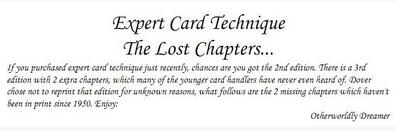 Expert Card Technique The Lost Chapters by Dai Vernon