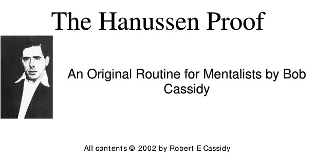 The Hanussen Proof by Bob Cassidy
