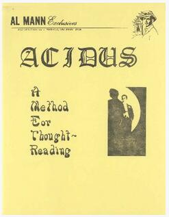 Acidus A Method for Thought Reading by Al Mann