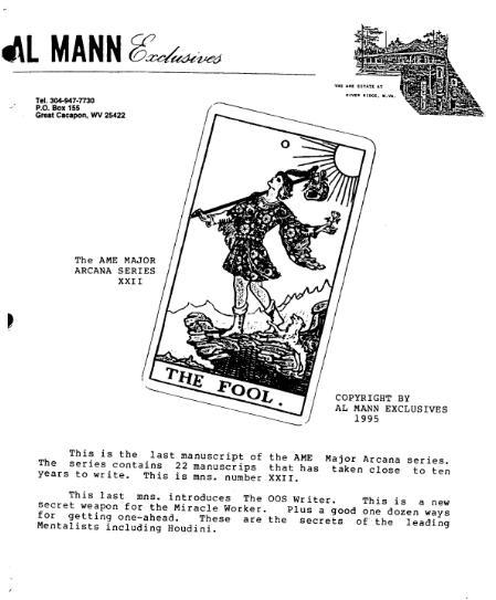 AME Major Arcana Series XXII The Fool by Al Mann
