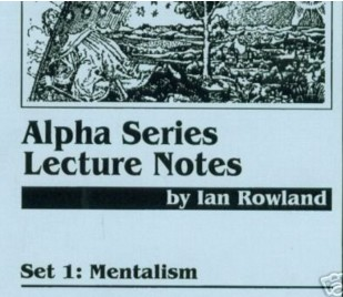 ALPHA SERIES LECTURE NOTES by IAN ROWLAND